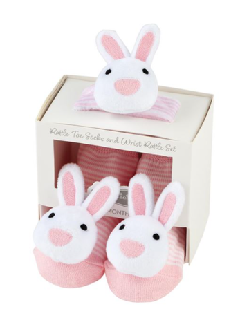 Mud Pie Pink Bunny Wrist Sock Rattle