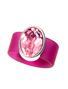 Dusty Rose Swarovski Crystal on Pink Rubber Band Ring - SM