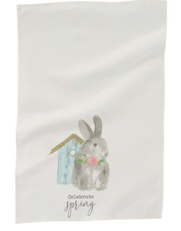 Mud Pie Bunny Birdhouse Towel