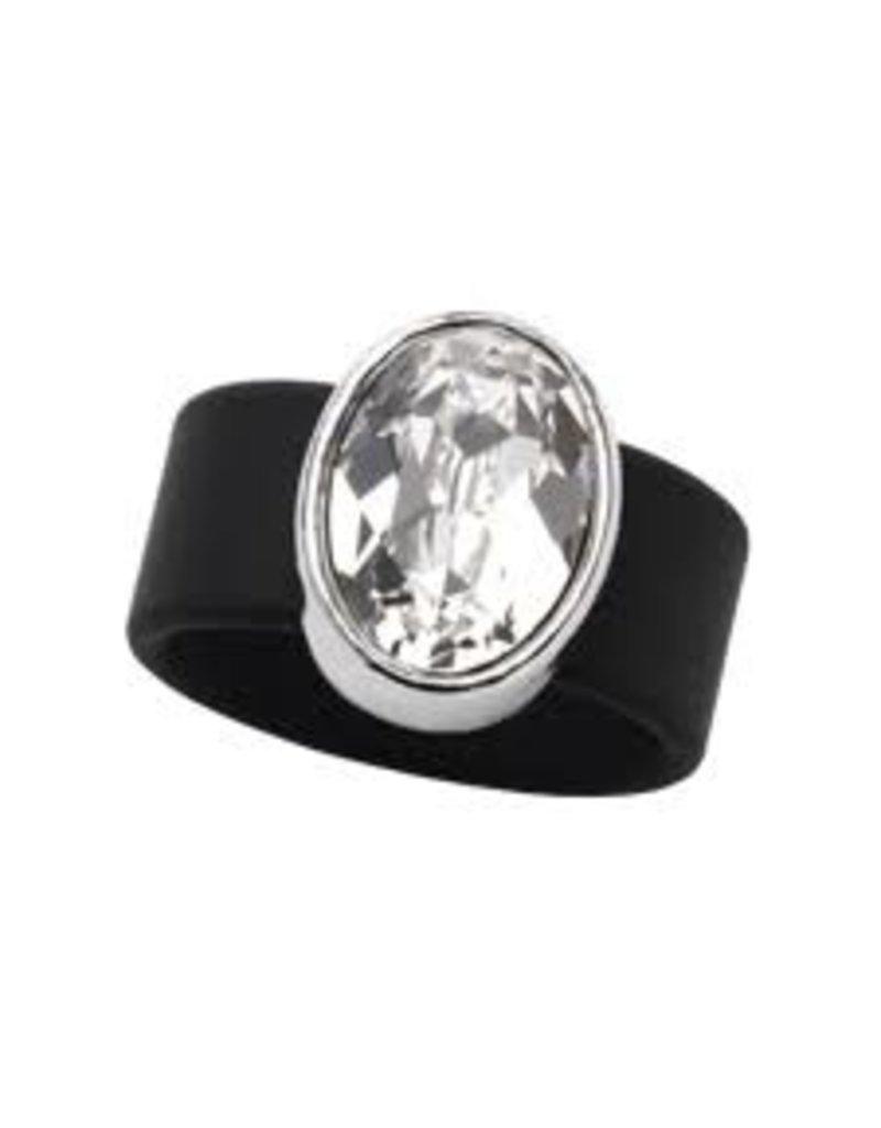 Clear Swarovski Crystal on Black Rubber Band Ring - LRG