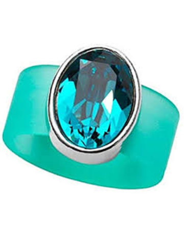 Blue Tourmaline Swarovski Crystal on Turquoise Rubber Band Ring - MED
