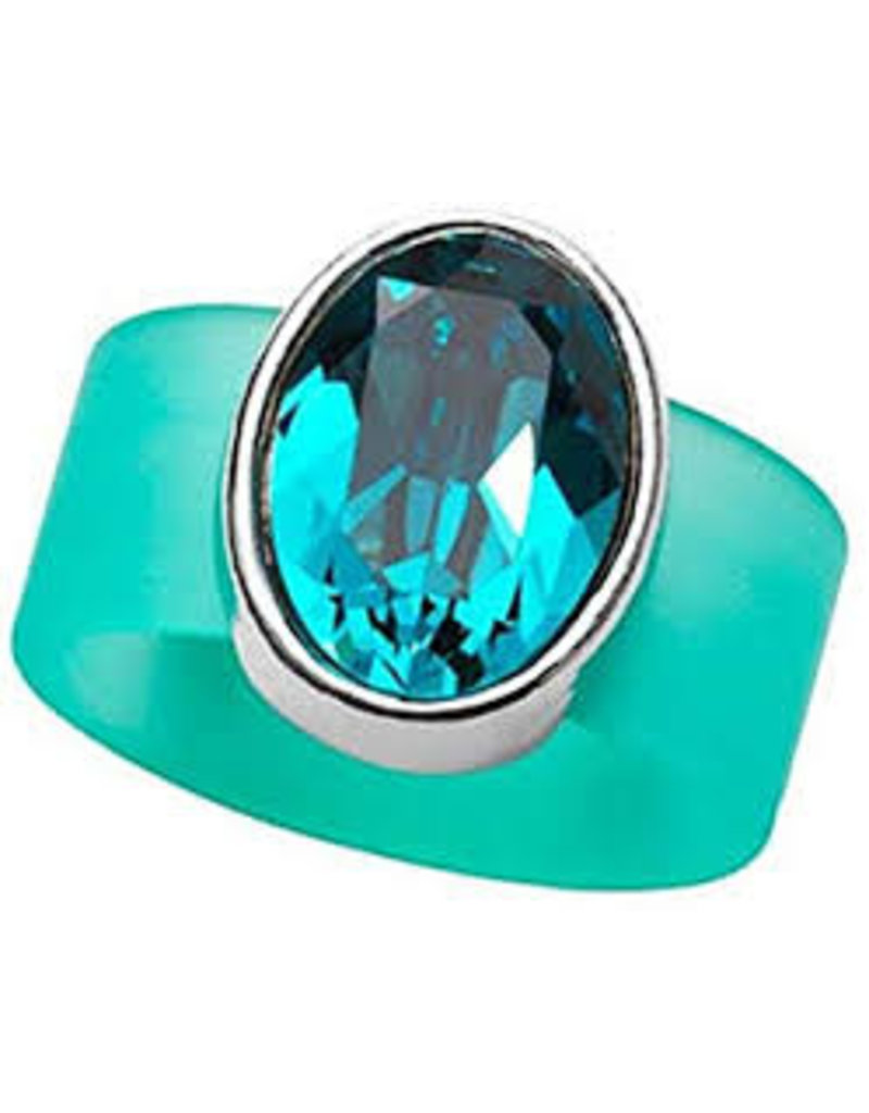 Blue Tourmaline Swarovski Crystal on Turquoise Rubber Band Ring - MED