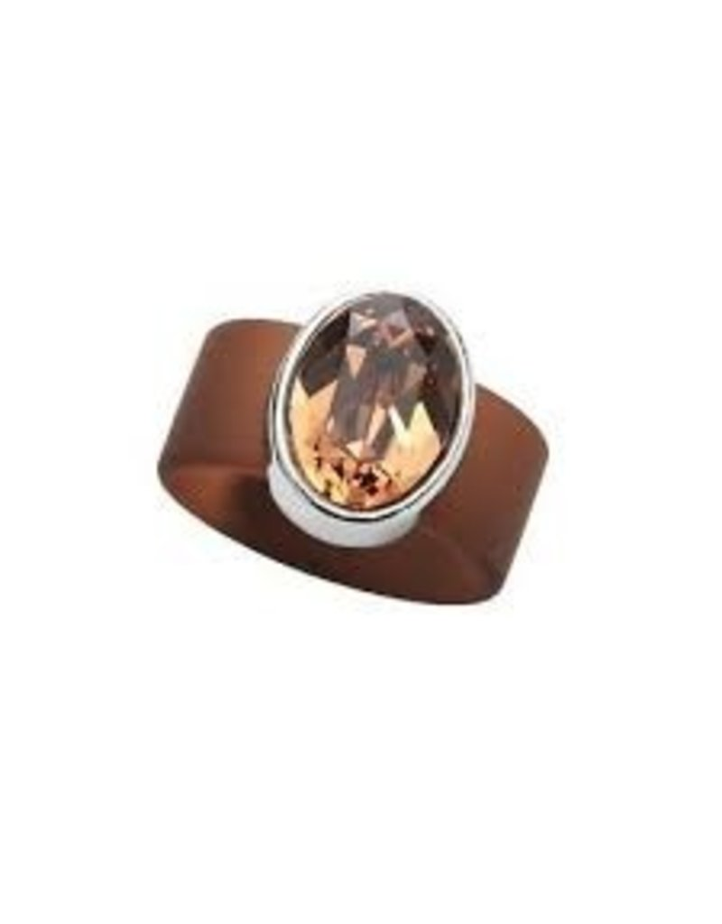 Topaz Swarovski Crystal on Brown Rubber Band Ring - MED