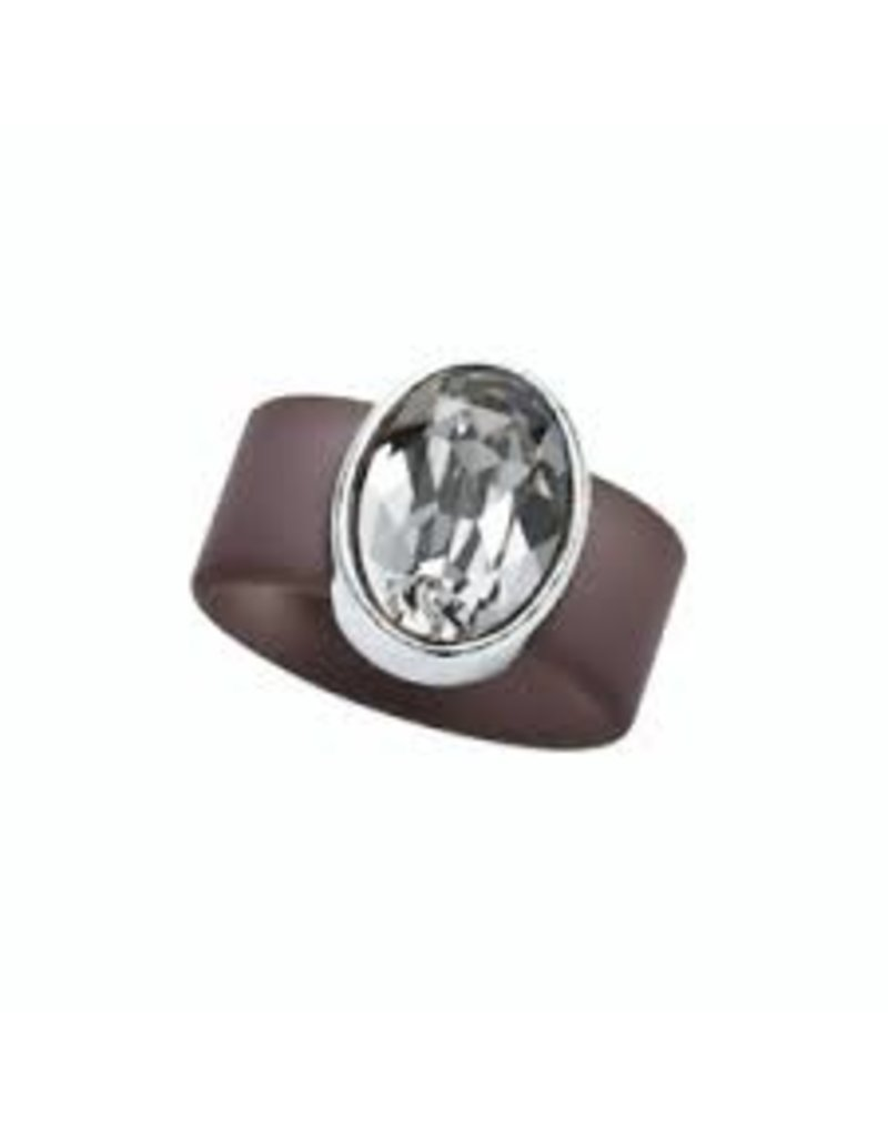 Black Diamond Swarovski Crystal on Gray Rubber Band Ring - MED