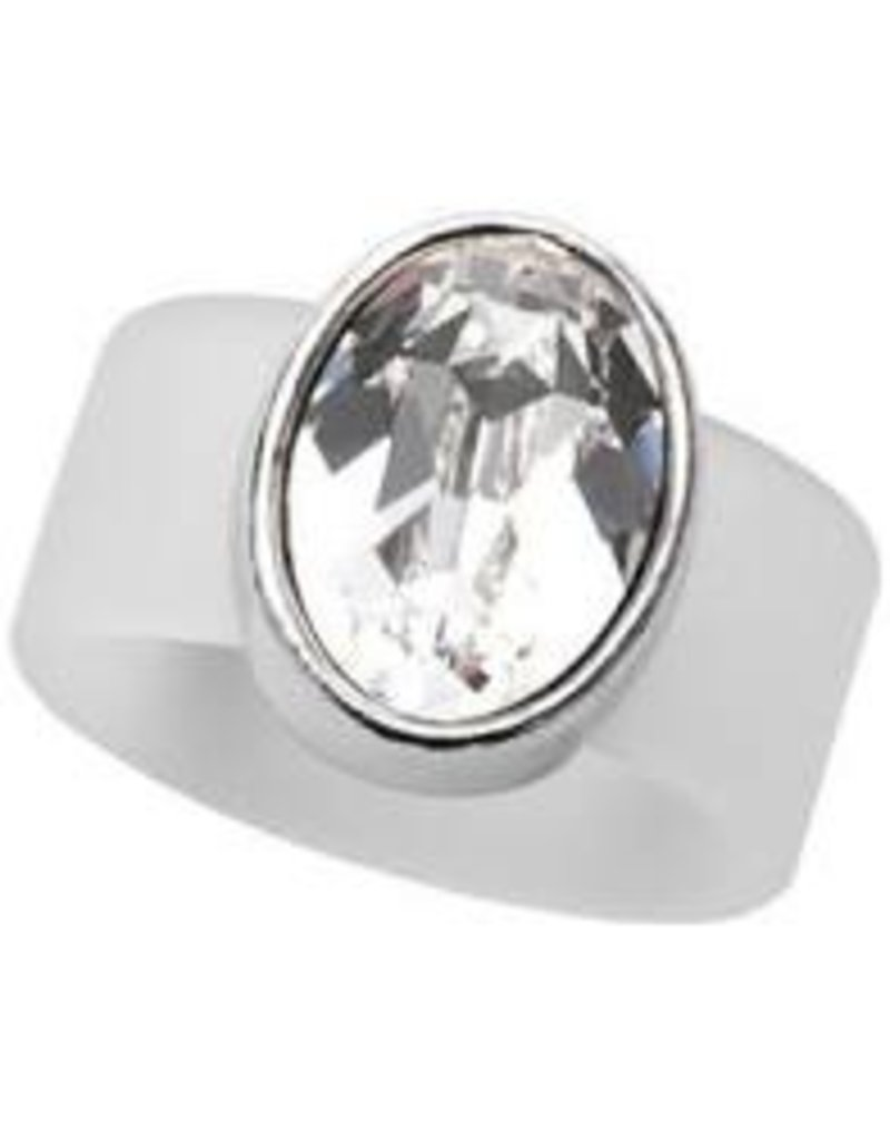 Clear Swarovski Crystal on Clear Rubber Band Ring -MED