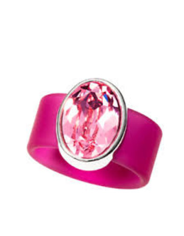Dusty Rose Swarovski Crystal on Pink Rubber Band Ring - MED
