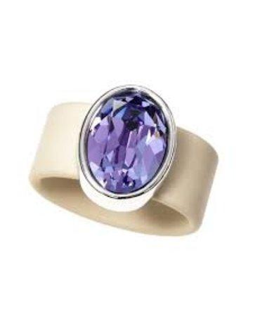 Tanzanite Swarovski Crystal on Sand Rubber Band Ring - MED