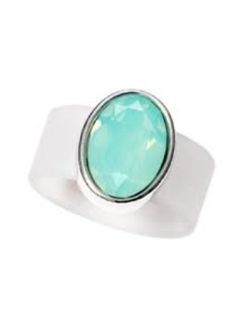 Pacific Opal Swarovski Crystal on Clear Rubber Band Ring - MED