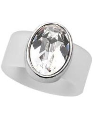 Clear Swarovski Crystal on Clear Rubber Band Ring - SM