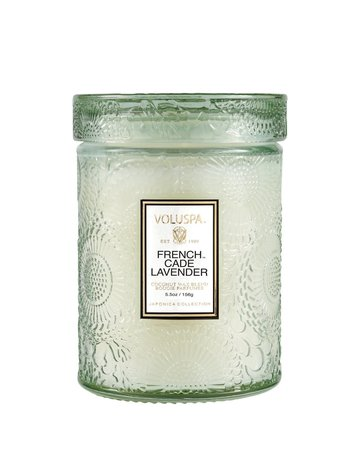French Cade & Lavender 5.5oz Embossed Glass Jar Candle w/Lid