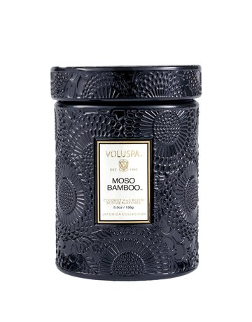 Moso Bamboo 5.5 oz Embossed Glass Jar Candle w/ Lid