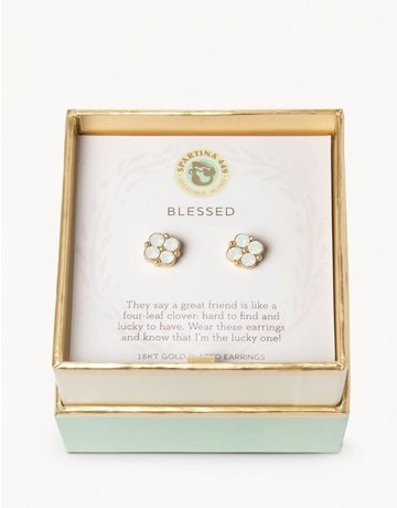 SLV Stud Earrings Blessed/Crystal Clover
