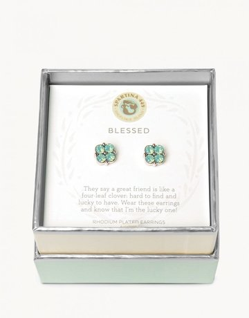 SLV Stud Earrings Blessed/Sea Foam Clover