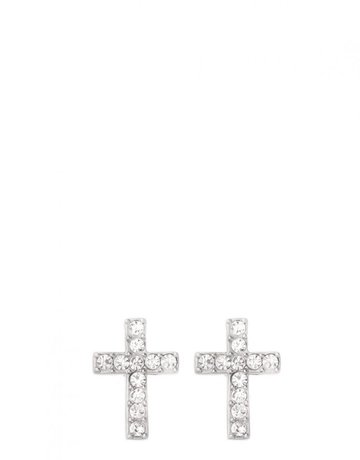 SLV Stud Earrings Have Faith/Cross SIL