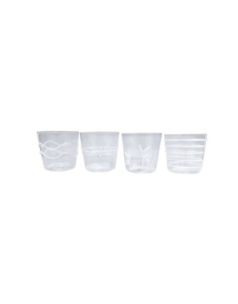 6526 White Applique Suite Of Double Old Fashion Glasses