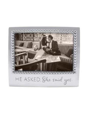3906HE He Asked. She Said Yes Beaded 4x6 Frame