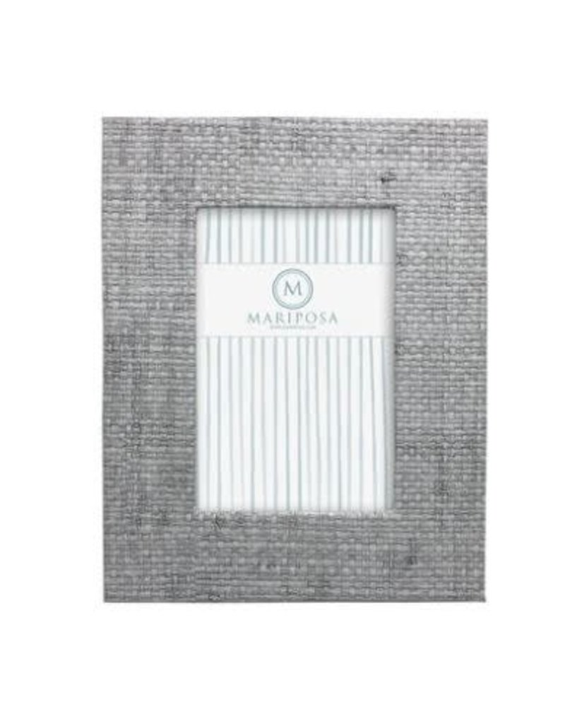 9050SL Pale Gray Faux Grasscloth 4x6  Frame NEW