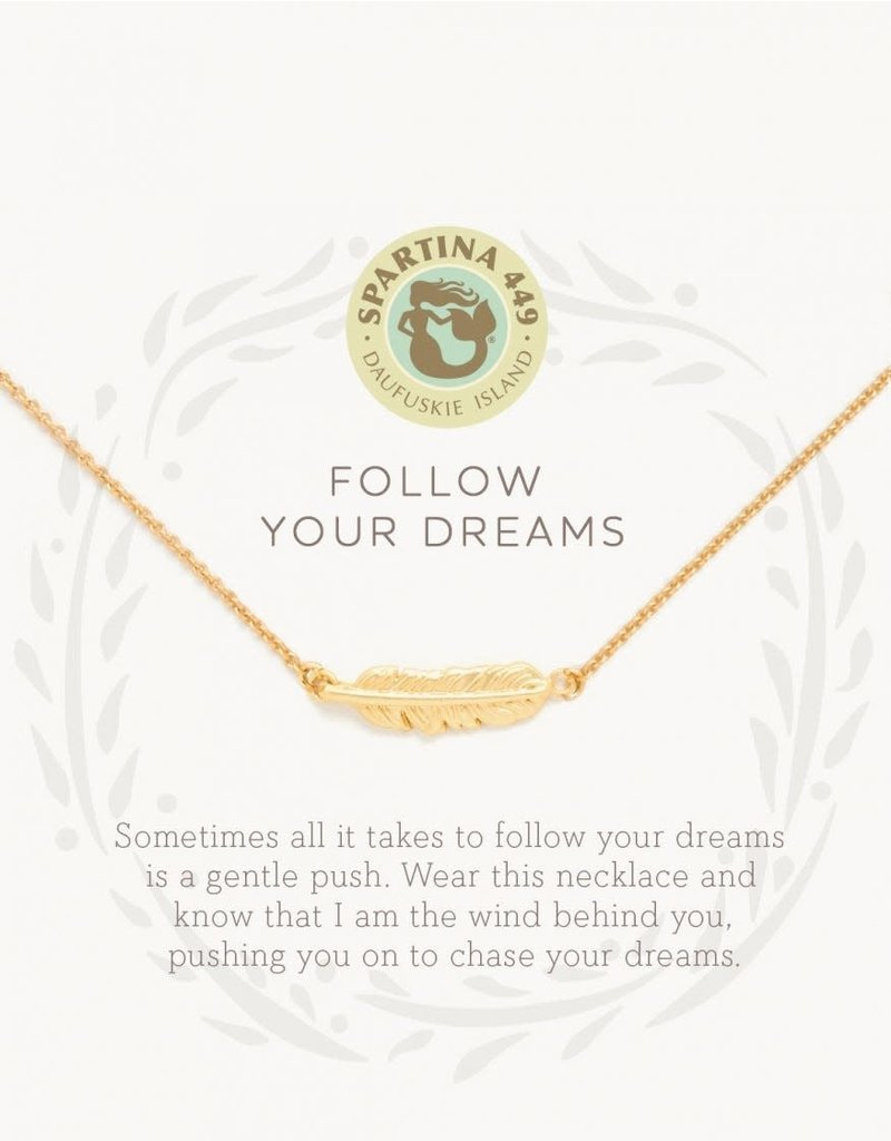 """SLV  Necklace 18"""" Follow Your Dreams/Feather"""