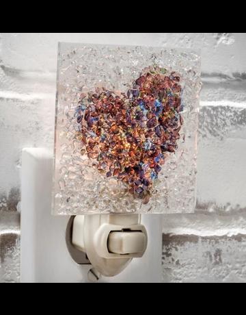NTL187 Heart Night Light Fused Glass