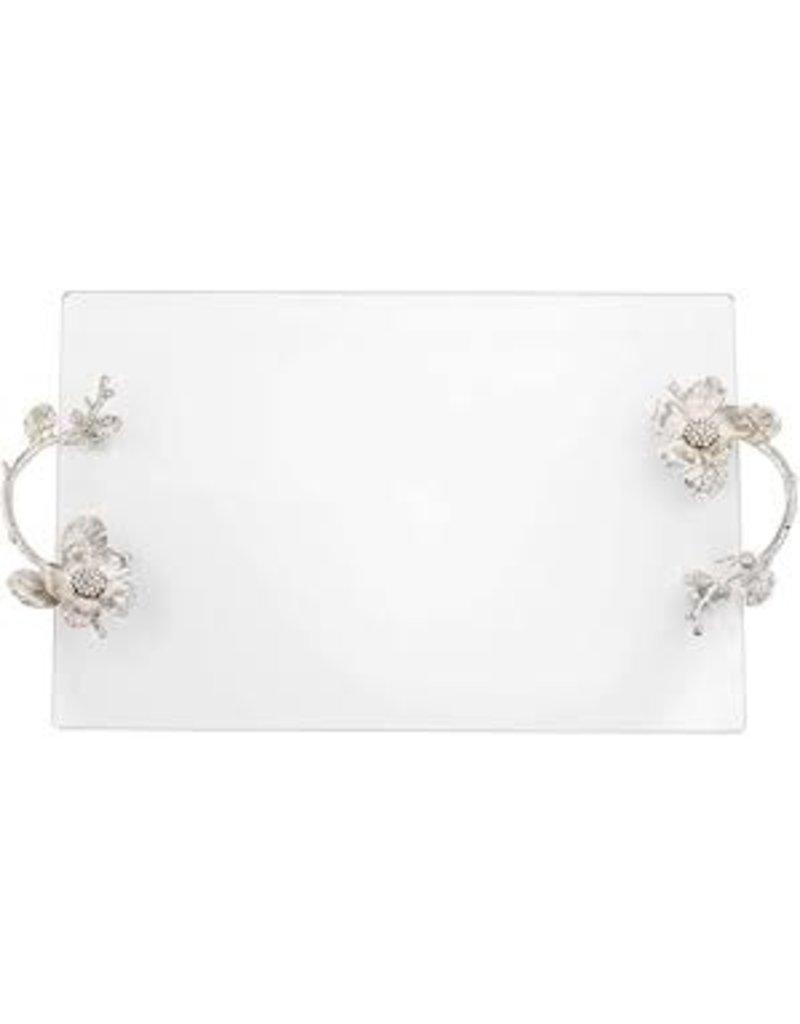 Silver Botanica Glass Tray
