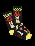 Womens Black/Yellow New Yorkie Socks