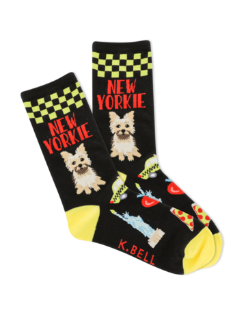 Womens Black/Yellow New Yorkie Socks