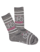 Womens Grey/Pink Cycologist Socks