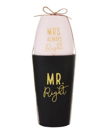 Mud Pie Mr and Mrs Silicone Glass Set