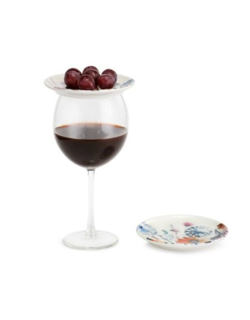 Mdow Flowers Wine App Plates - Set of 2A
