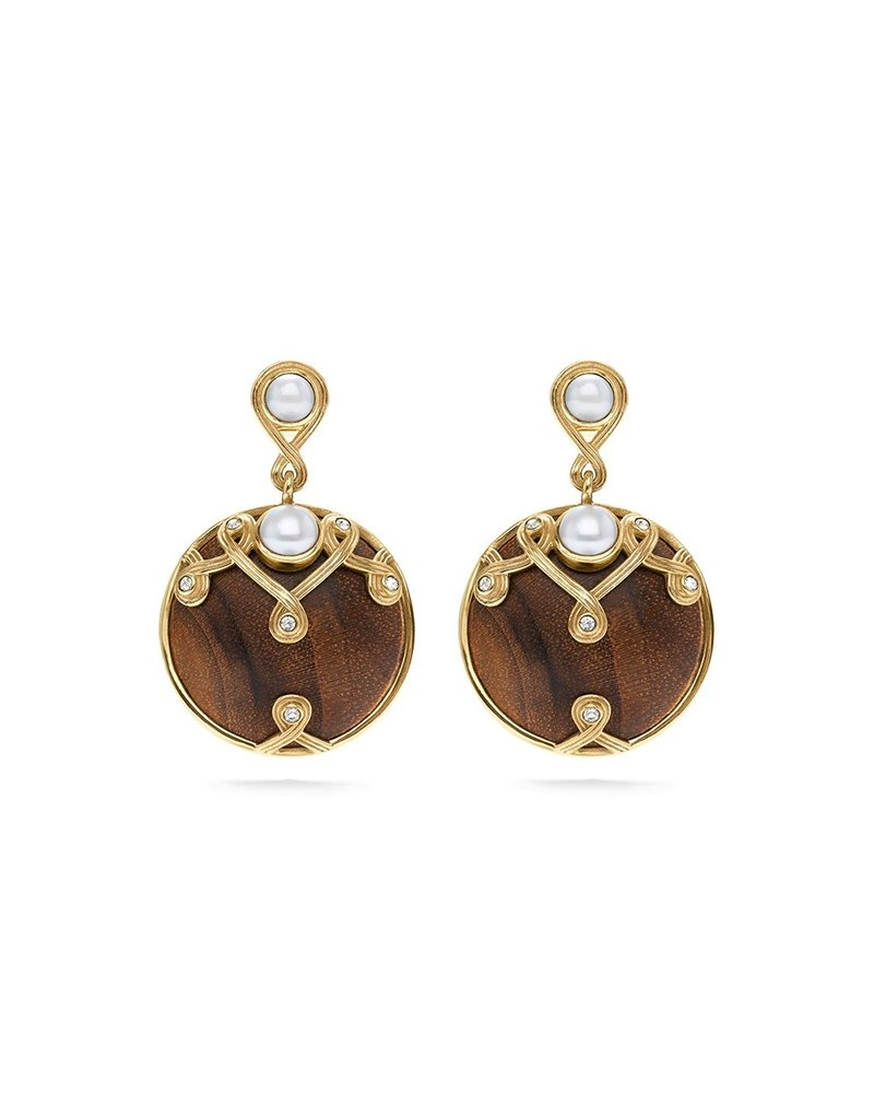Capucine De Wulf Inez Drop Earrings Pearl/ Teak Earth Goddess
