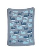 """Whale Cotton Knit Blanket Grey 40""""L x 32"""" W"""