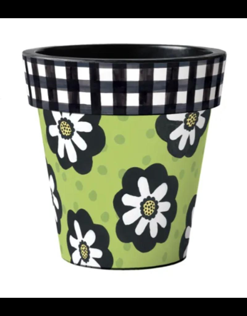 "Studio M Polka Dots and Flowers Green 18"" Art Planter"