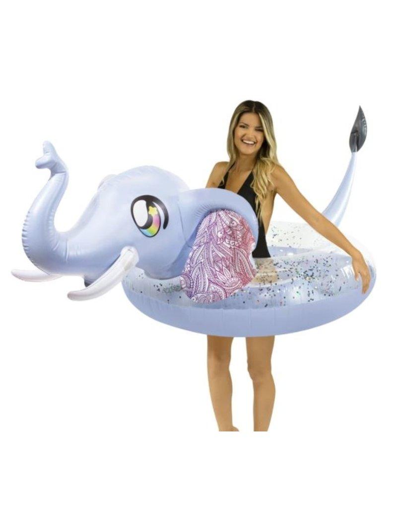"PoolCandy Glitter Elephant- 48"" Jumbo Beach & Pool Tube"