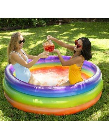 Rainbow Sunning Pool- 3 Ring Inflatable Pool- Multicolor Glitter