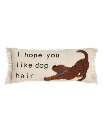 Mud Pie DOG HAIR CANVAS HOOK PILLOW