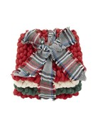 Mud Pie Green & Red Crochet Coaster Set