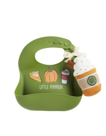 Mud Pie Pumpkin Bib and Rattle Set