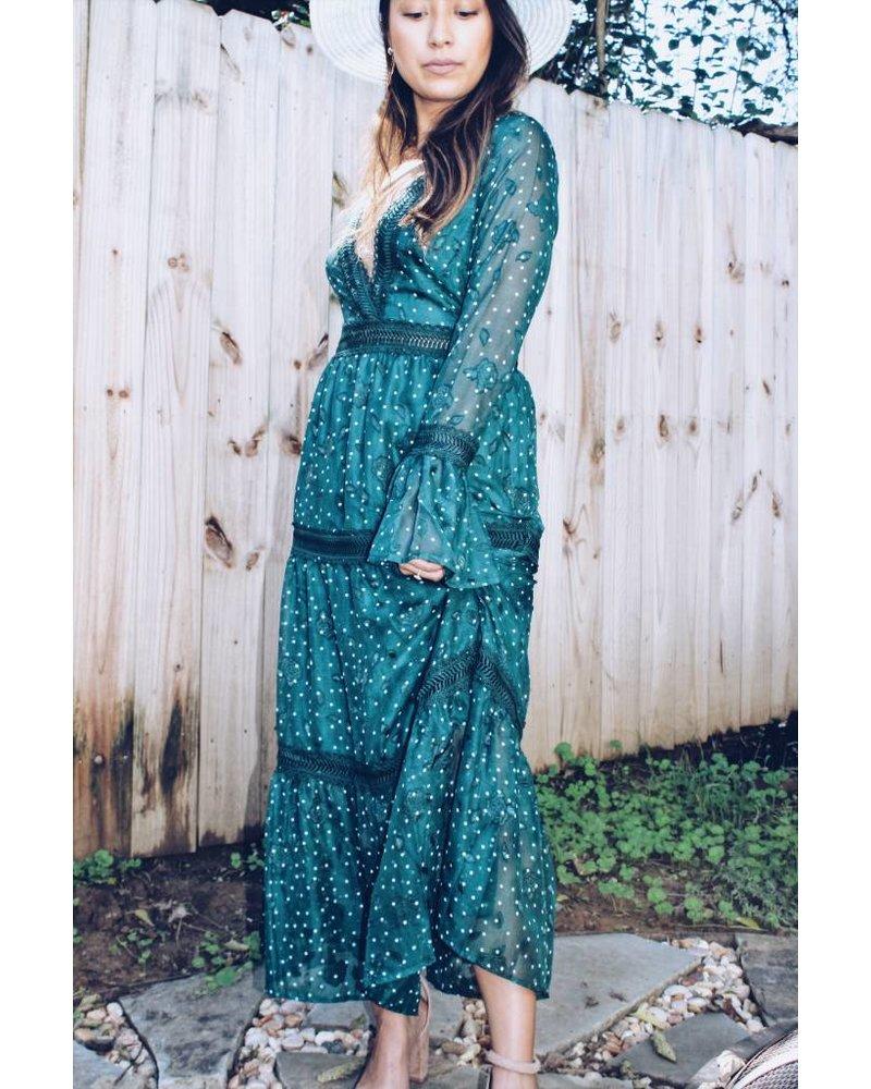 Moon River Deep Teal Maxi Dress