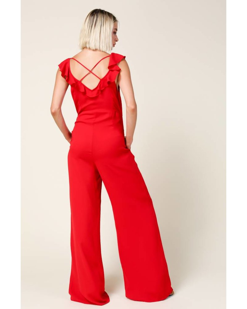 Line + Dot Poinsettia Red Jumpsuit