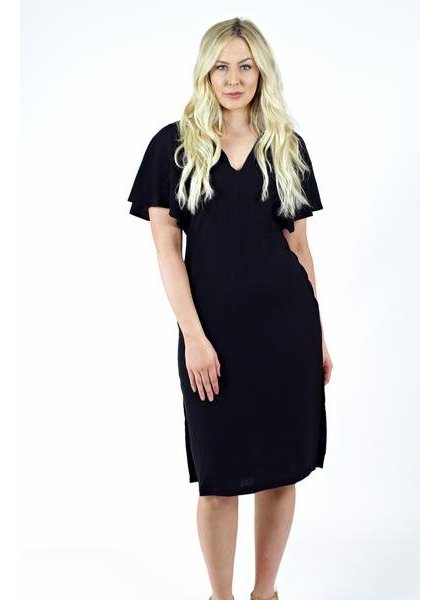 Black Flow Sleeve Dress