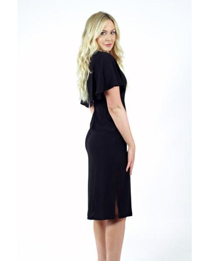 Black Flow Sleeve Dress
