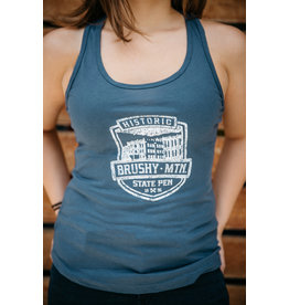 Next Level Brushy Shield Logo - Racerback Tank