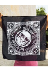 Black Skull Bandana Brushy - Motorcycle Skull Bandana Black