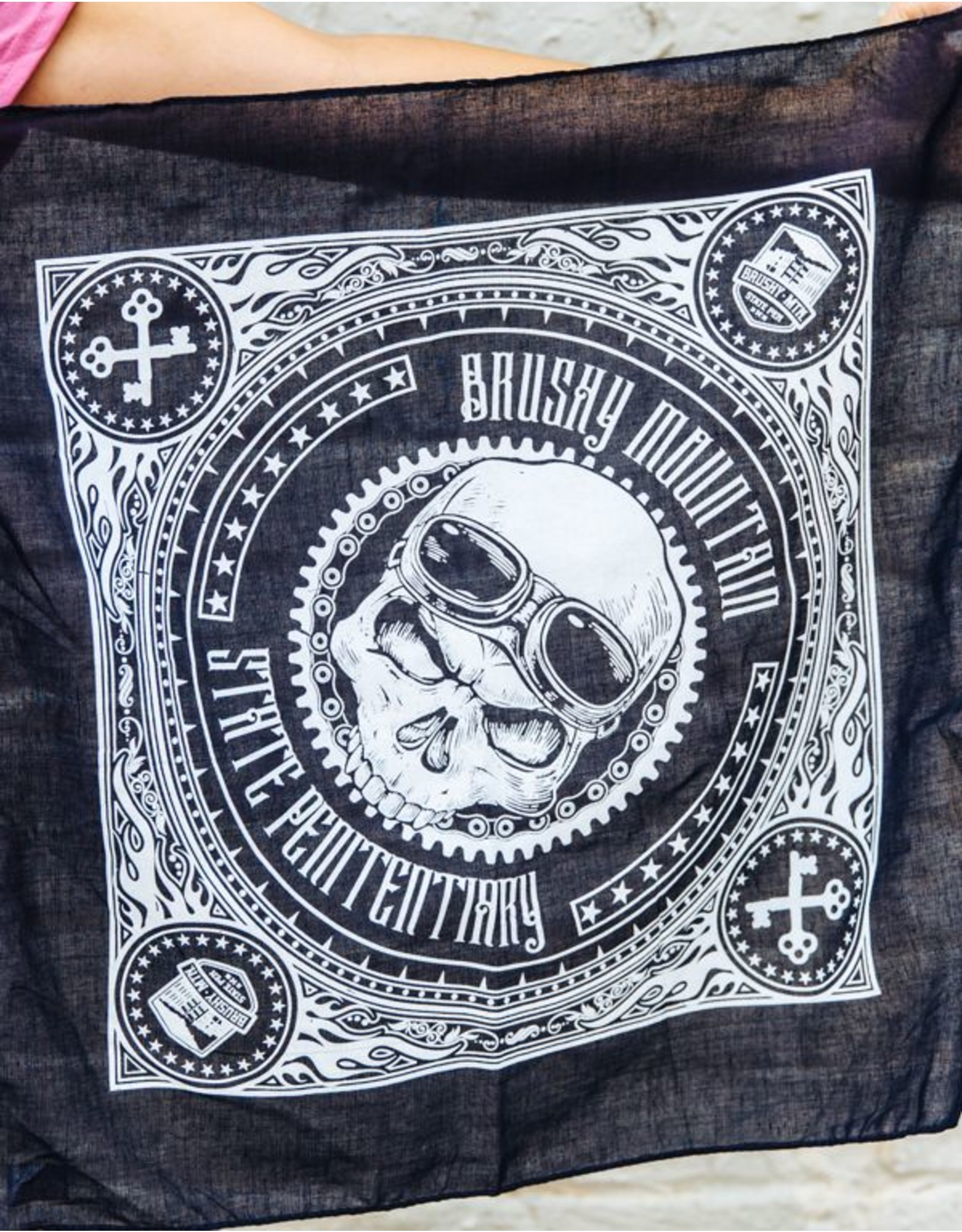 Black Skull Bandana Brushy - Motorcycle Skull Bandana Black