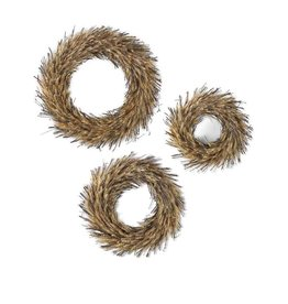 K & K Interiors Round Dried Wheat & Twig Wreaths Small