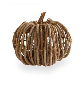 "K & K Interiors 8"" Grapevine & Rope Pumpkin"