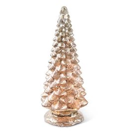 "K & K Interiors 16.5"" Battery Operated LED Mercury Glass Christmas Tree"
