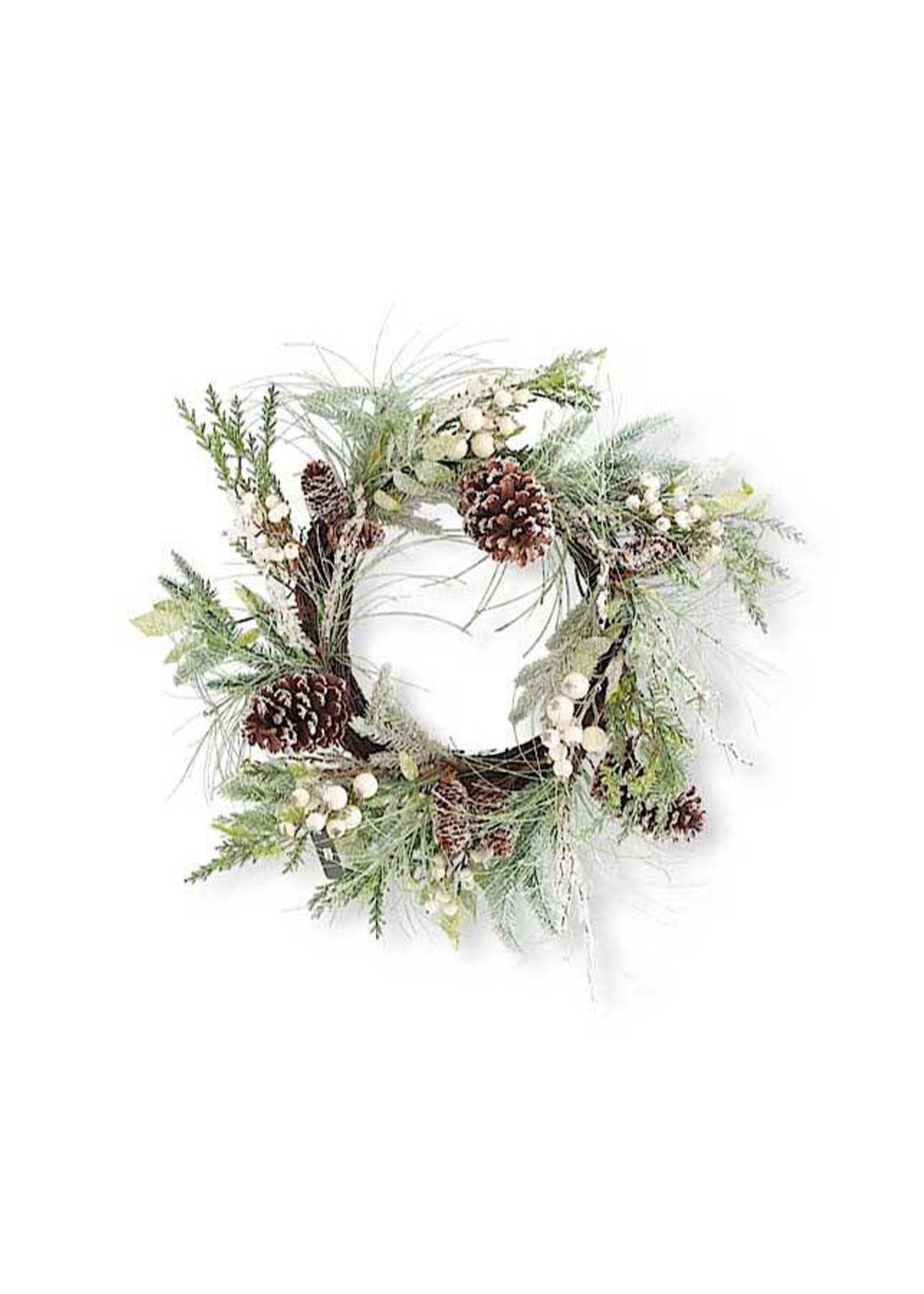 "K & K Interiors 24"" Needle Wreath w/ White Berries"