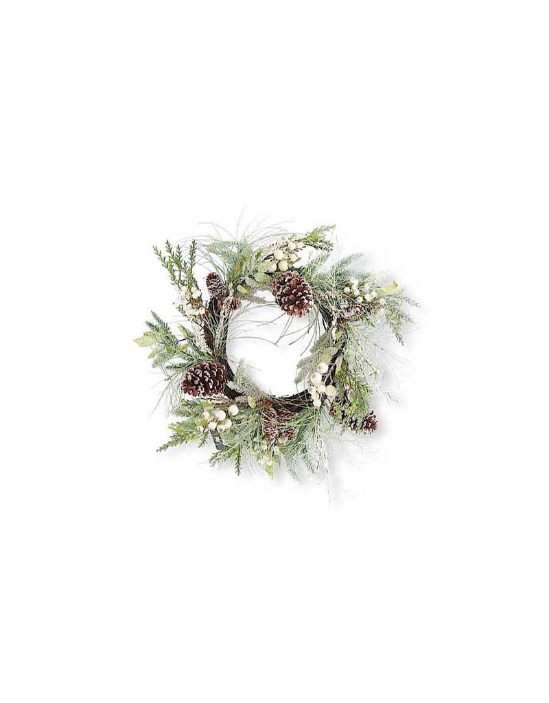 "K & K Interiors 24"" Needle Wreath w/ White Berries"