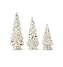 "K & K Interiors 13"" LED Mercury Glass Tree"